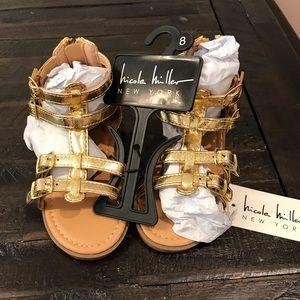 Nicole Miller Toddler Gold Gladiator Sandals